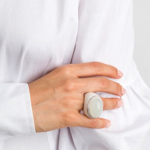 MOON RING – WHITE AGATE