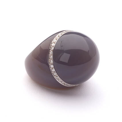 CURVE RING – GREY AGATE