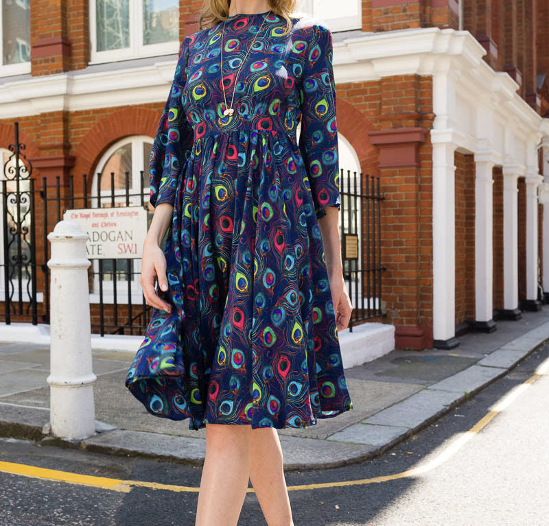 Kate Dress – Navy Feather Parade