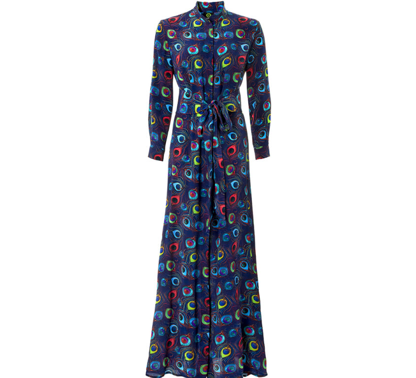 Anya Dress – Navy Feather Parade