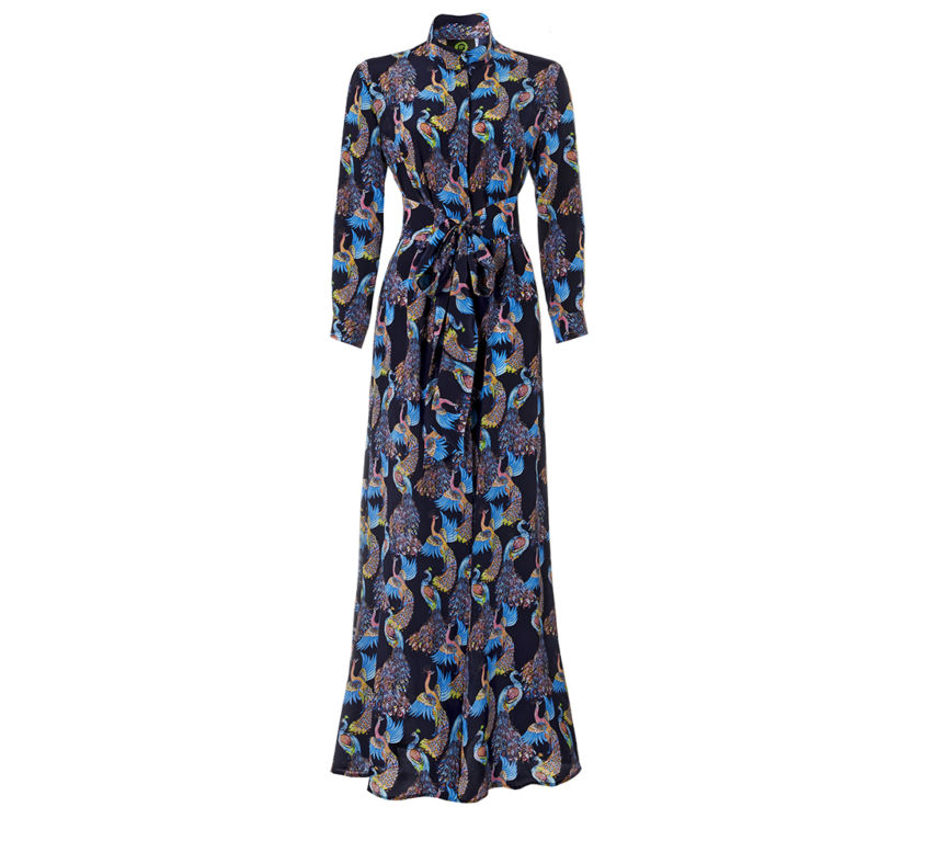 Anya Dress – Navy Peacocks