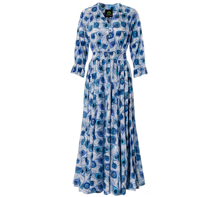 Helen Dress – Blue Feather Parade
