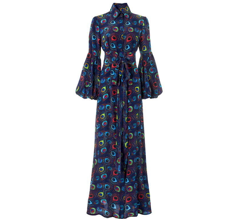 Orlova Dress – Navy Feather Parade